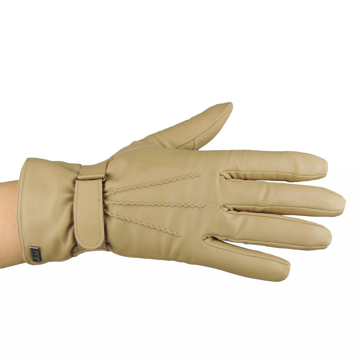 Luva Feminina de pelica com ajuste de velcro para o inverno - fieroshop d3c6d3a8082