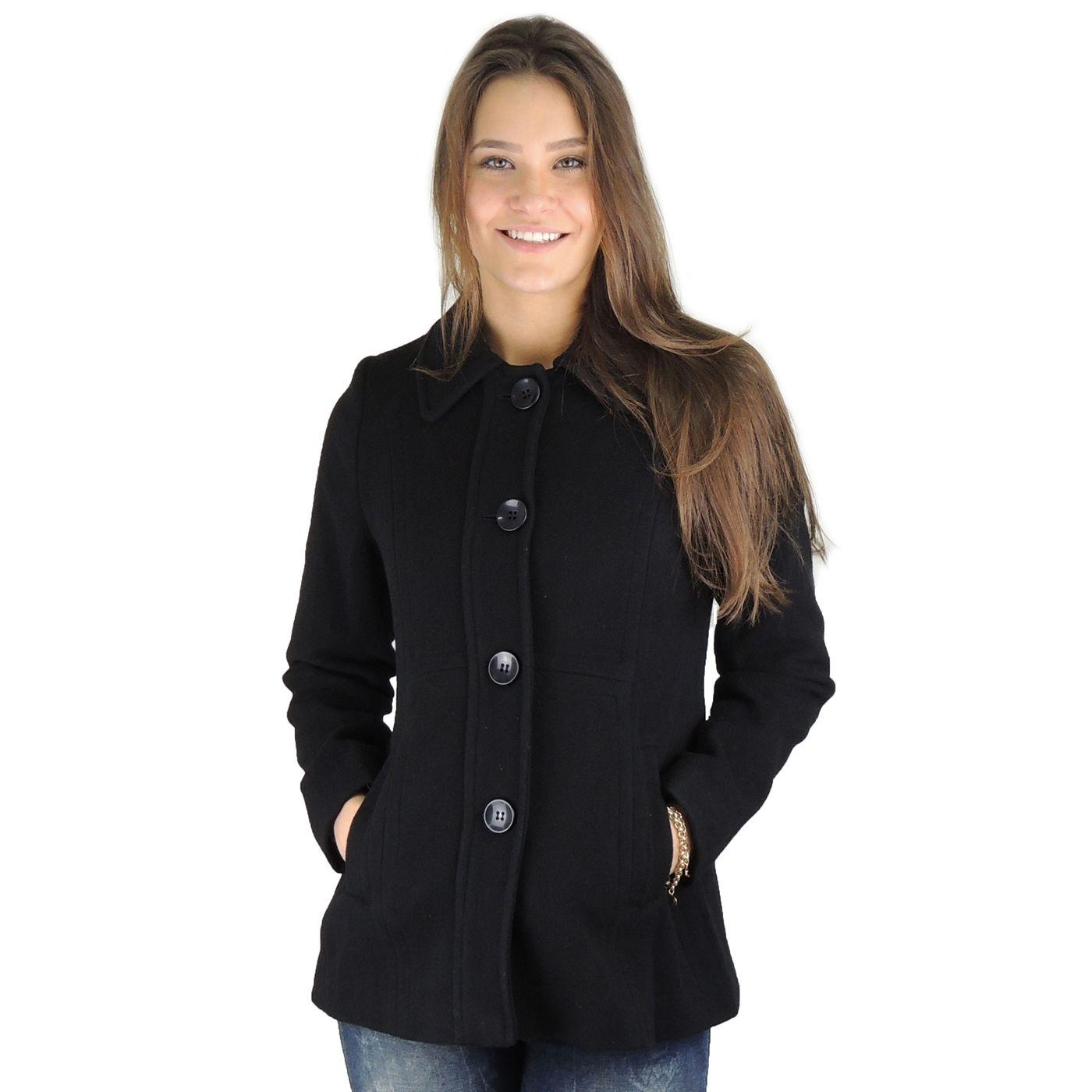 Casaco preto feminino em lã batida para o frio intenso e inverno - fieroshop 5707d90fbd78f