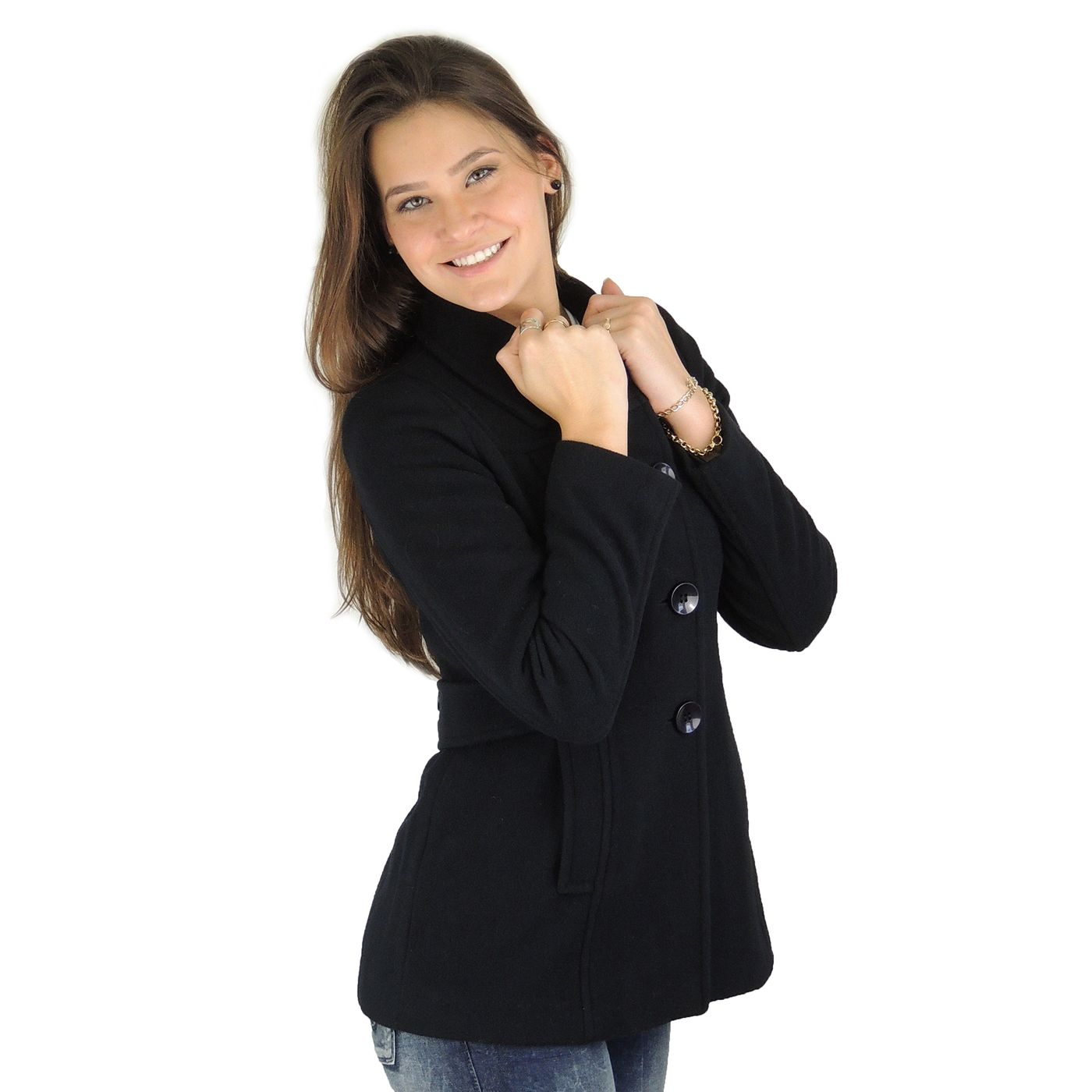 Casaco Feminino lã batida com cinto New York FIERO Black - fieroshop 79dc616b25a37