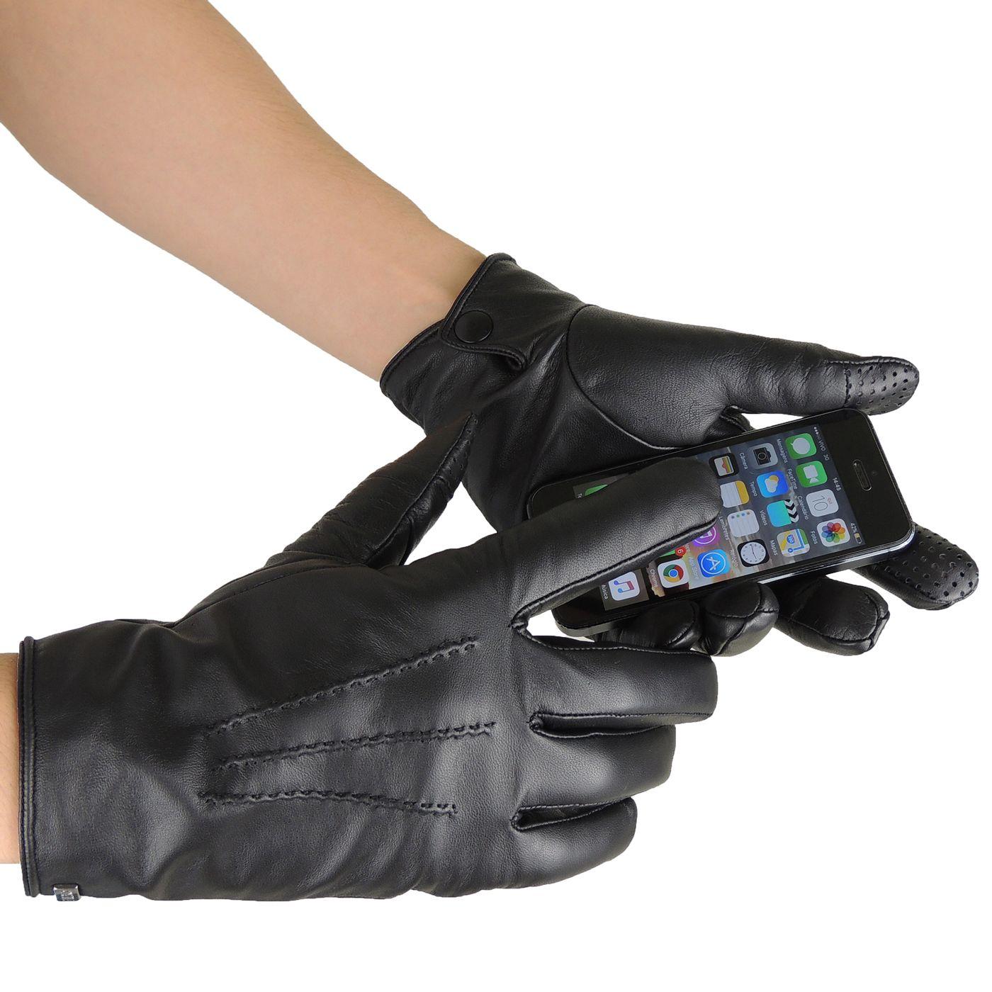 Luva Masculina Touch Screen em couro legítimo - fieroshop 0f69bed178d