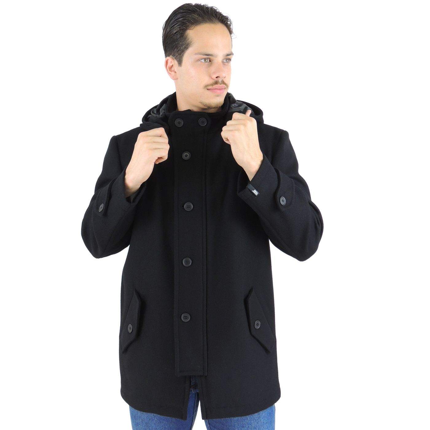 Casaco Masculino com capuz removível em lã uruguaia modelo Colorado -  fieroshop 921554603c6