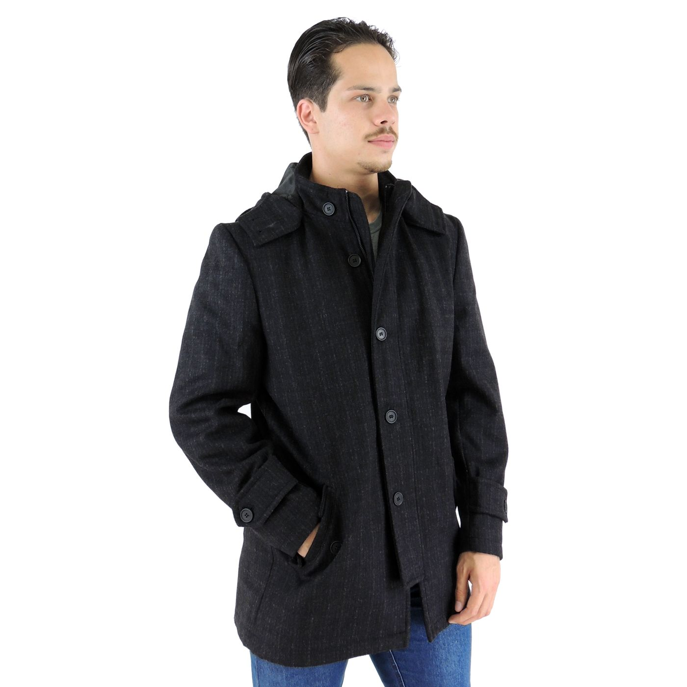 Casaco Longo Masculino Cinza em lã uruguaia para o inverno - fieroshop 75c4f61340119