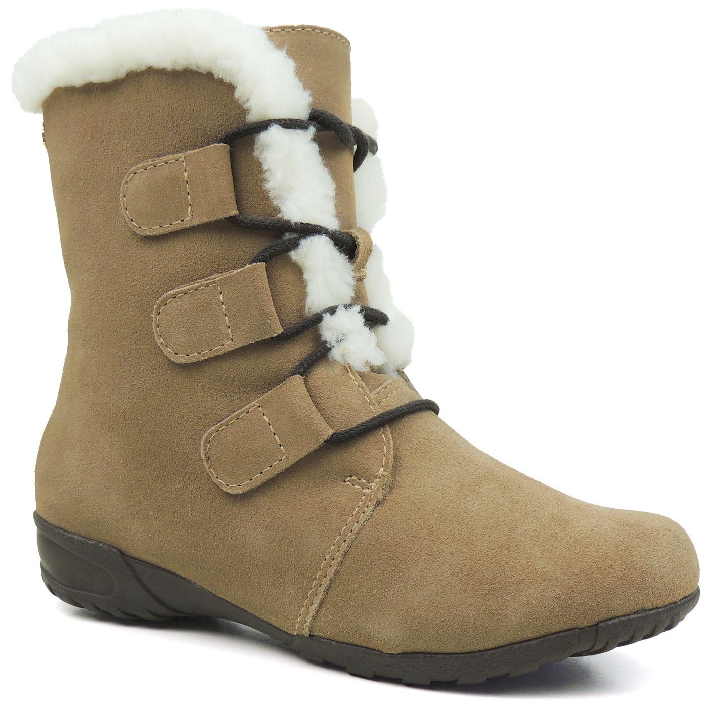 88823fb56 Bota Fiero Feminina Rasteira Bege forrada em lã para o inverno - fieroshop