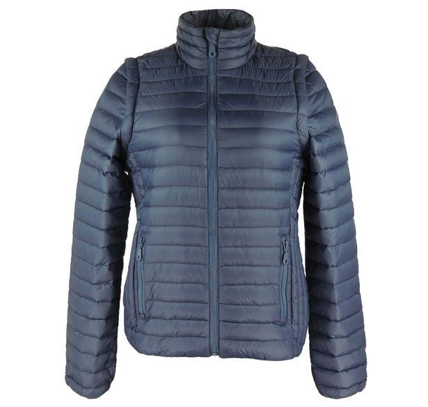 Jaqueta e colete feminino de pluma Azul Marinho para o inverno - fieroshop 6d554f6bfd8a4