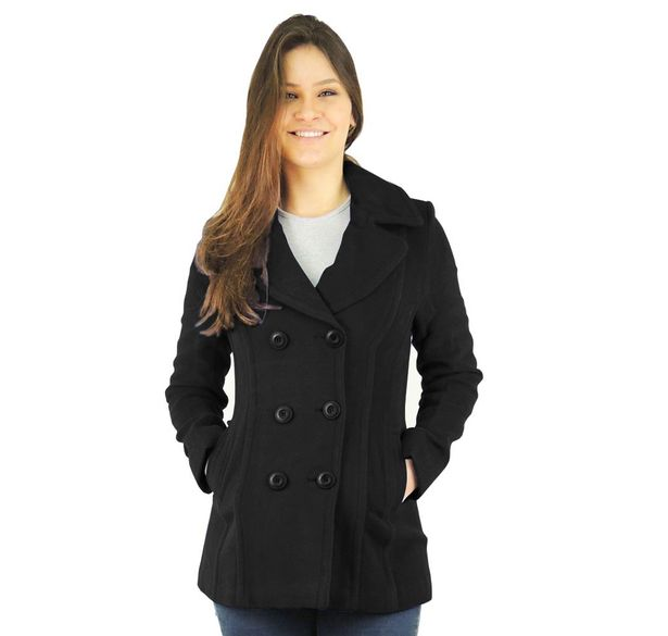 f2bd140b4 Casaco Feminino Trench Coat Preto em lã para o inverno - fieroshop
