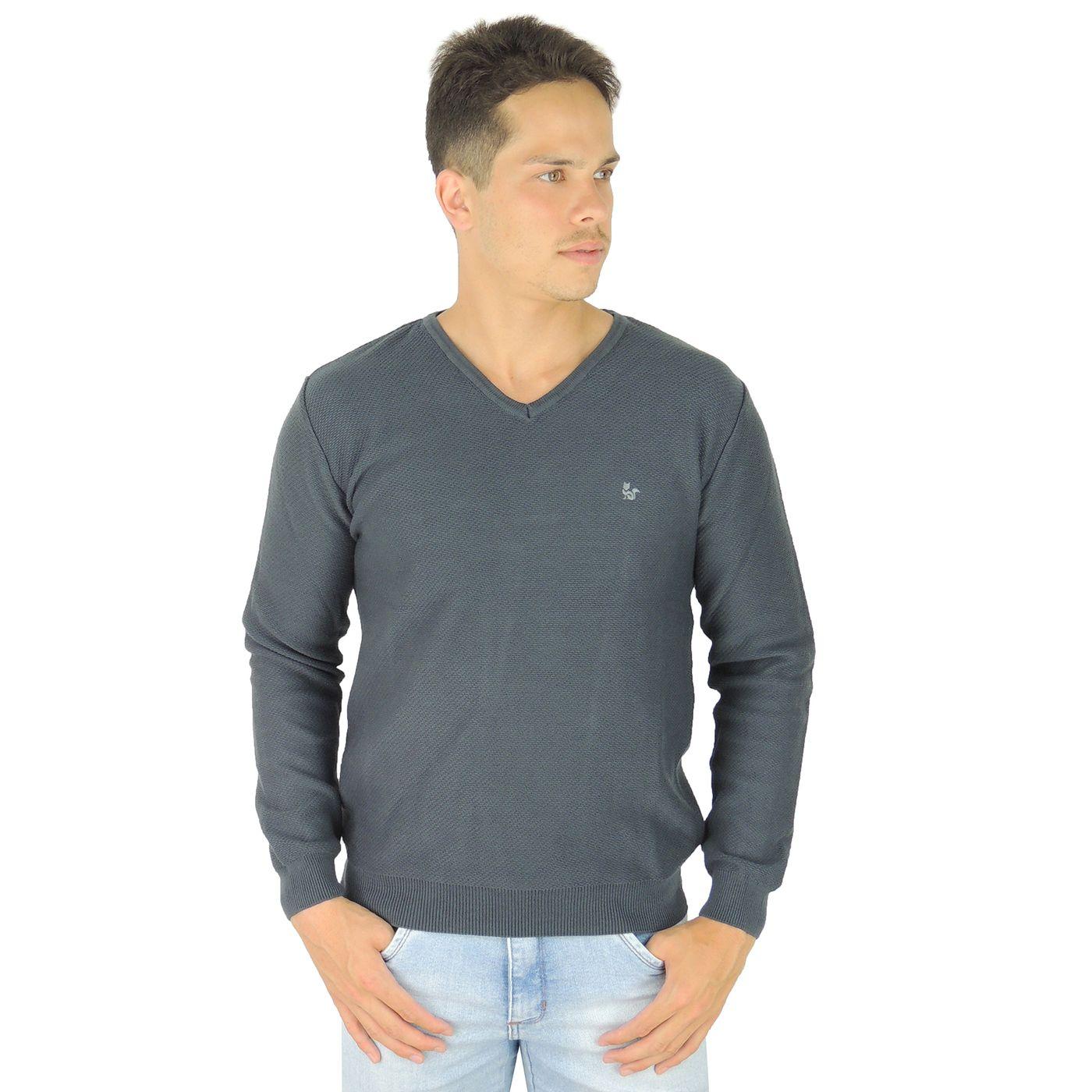 Suéter Masculino em Tricô Chumbo Gola V para o inverno e frio - fieroshop 7bad43fce3e
