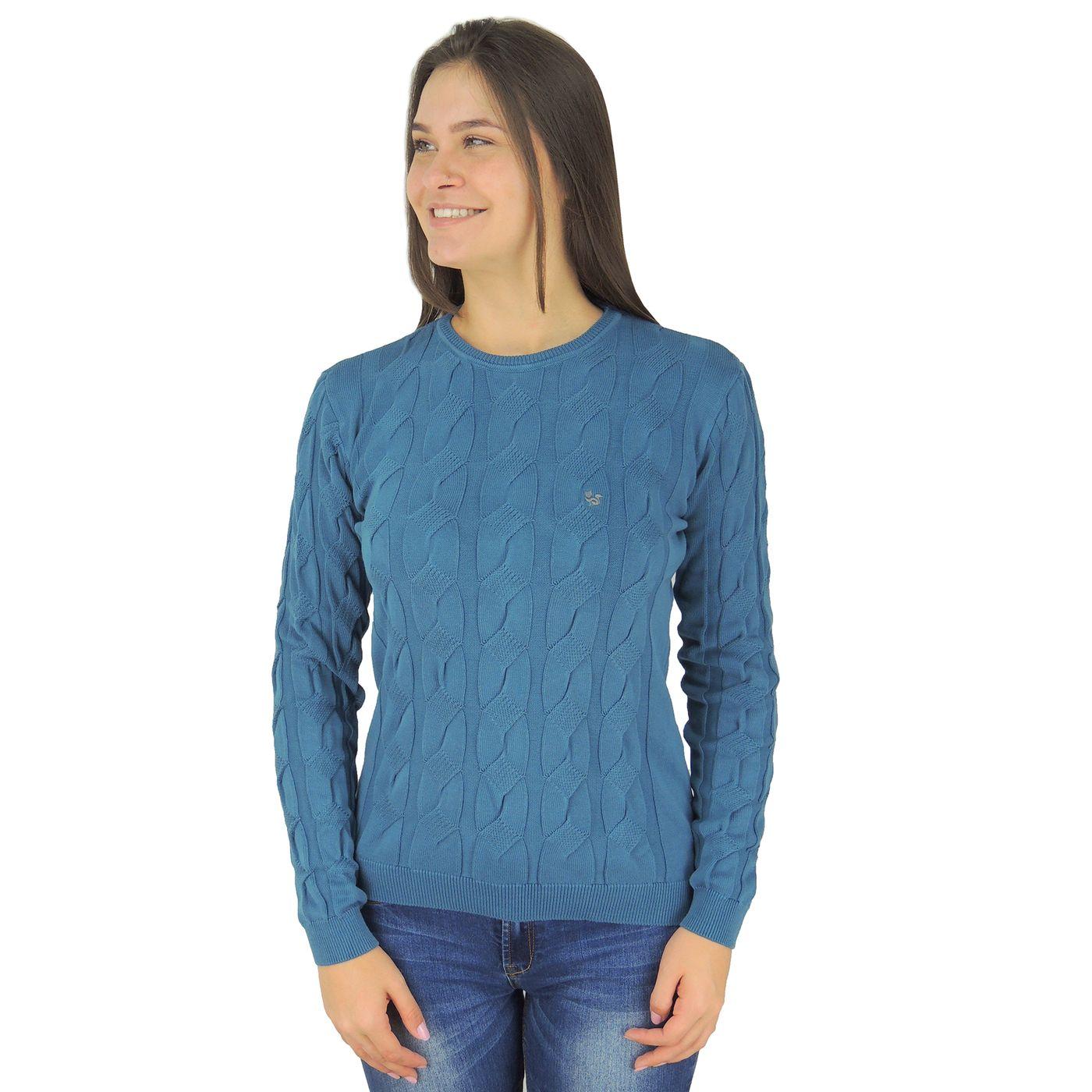 Suéter Feminino tricô Soho em algodão azul - fieroshop 2190a352f3117