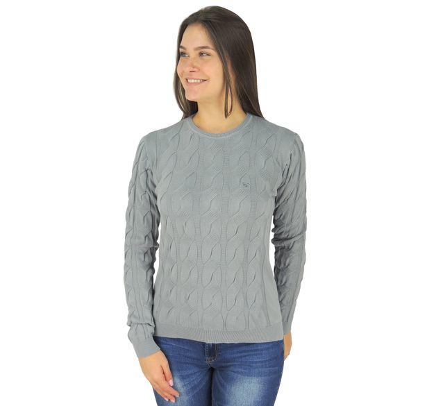 Suéter Feminino Cinza Claro em tricô - fieroshop 71038143b5c