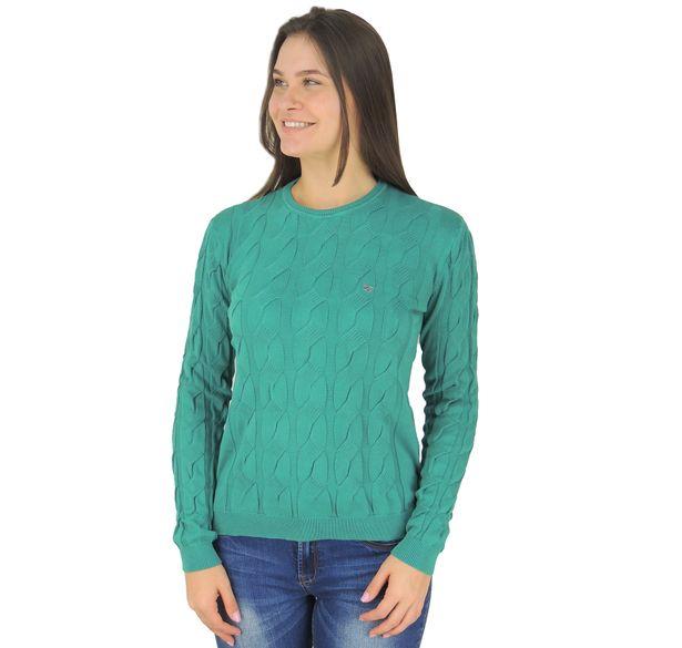 sueter-feminino-verde-em-trico
