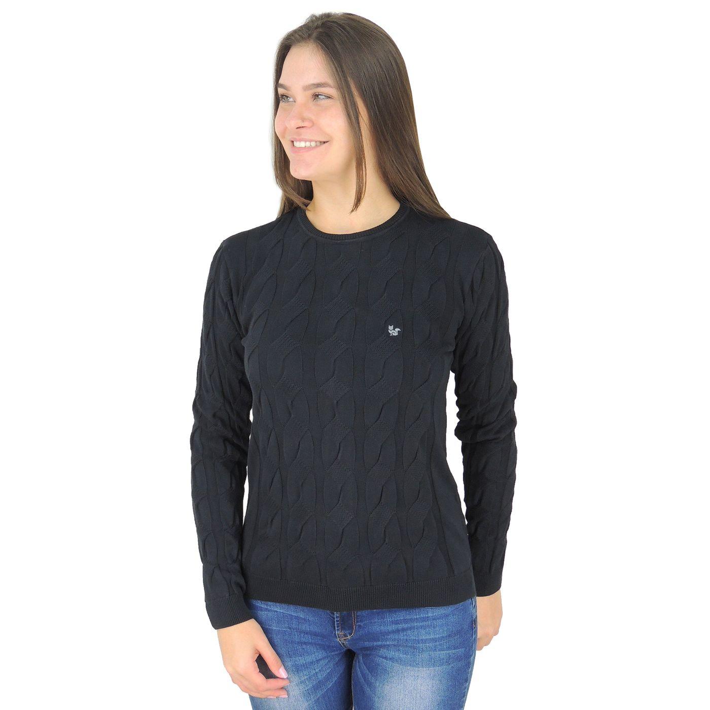 Suéter Feminino Preto em tricô 100% algodão Premium - fieroshop fa0a7048932
