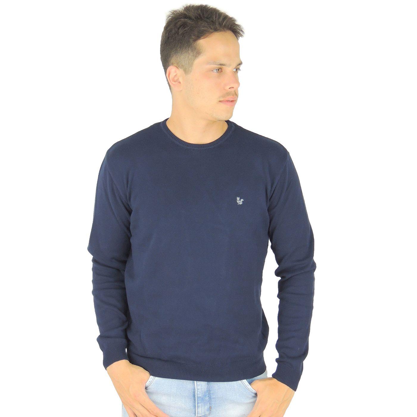 Suéter Masculino Azul Marinho em algodão - fieroshop 8e4a8894e004b