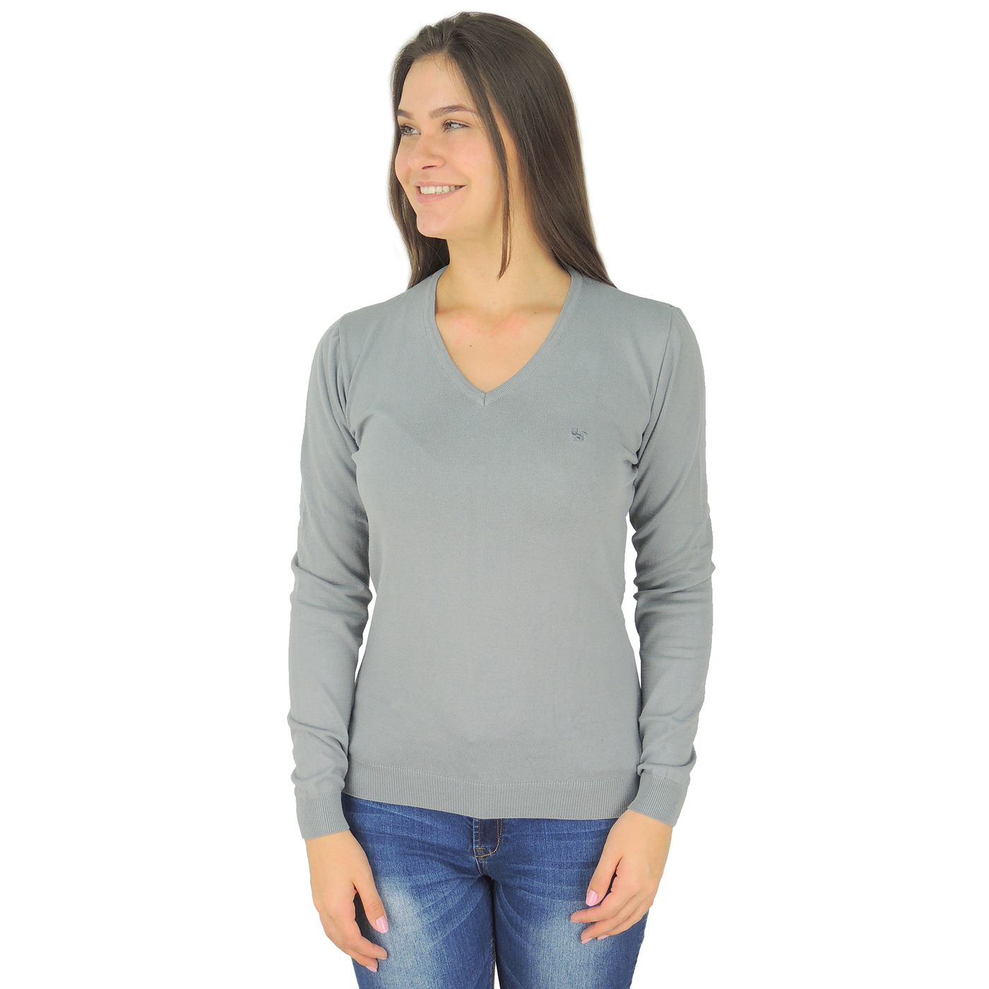 76428490cb246 Suéter Feminino para o frio em algodão cinza claro - fieroshop