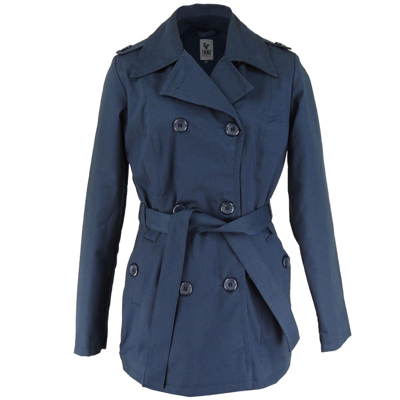 Casaco Térmico Feminino Trench Coat Azul Marinho Broadway - fieroshop c28fbbf9f8c6